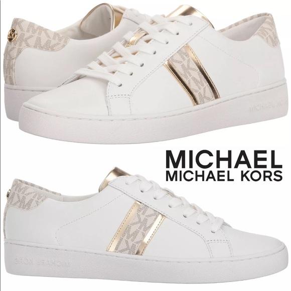 bb53bb180500 Michael Kors White Irving Stripe Sneakers